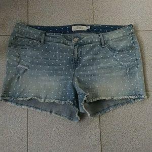 TORRID Dots Distressed Jeans Shorts Plus Sz 20